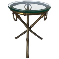 Gilt Metal Bamboo Tripod Round Glass Top Side Table