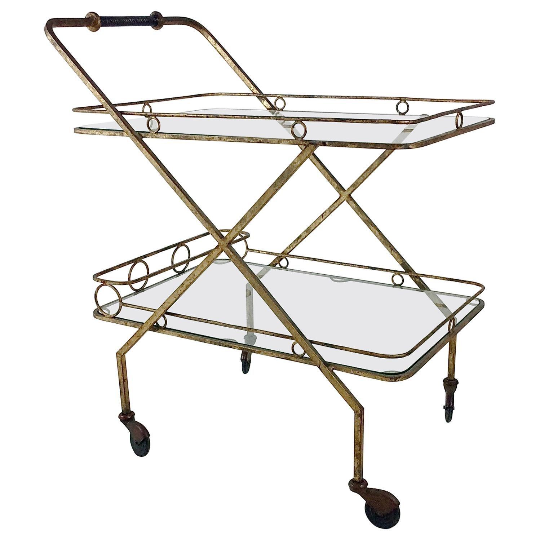 Gilt Metal Bar Cart, circa 1960