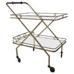 Gilt Metal Bar Cart, circa 1960