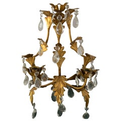 Gilt Metal Candle Sconce with Glass Drops, a Single Item