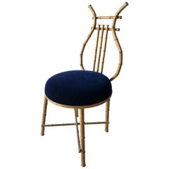 Gilt Metal Chair in Shape of a Lire with Blue Mohair