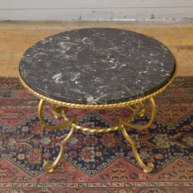 French Gilt Metal Coffee Table with Grey Marble For Sale