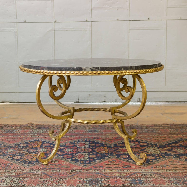 Gilt Metal Coffee Table with Grey Marble In Excellent Condition For Sale In Long Island City, NY