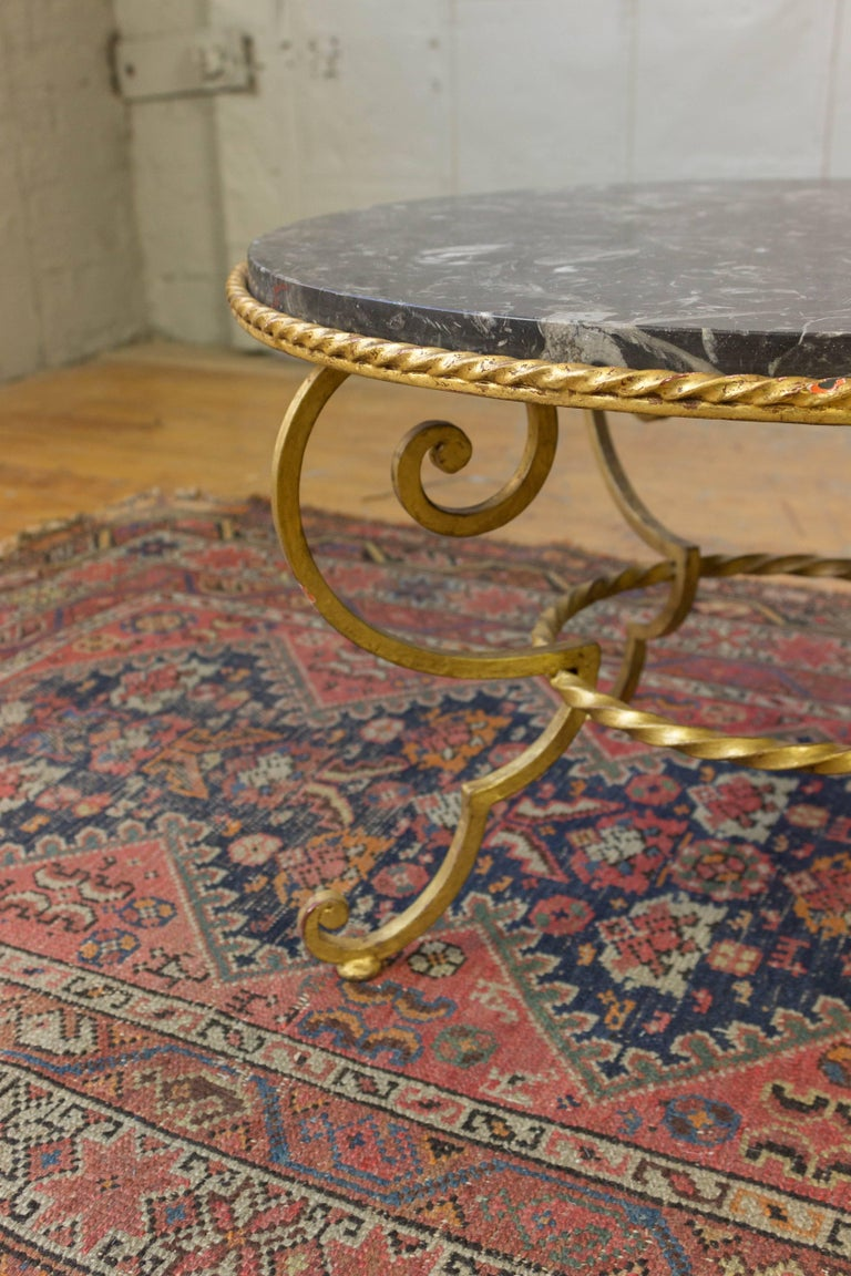 Mid-20th Century Gilt Metal Coffee Table with Grey Marble For Sale