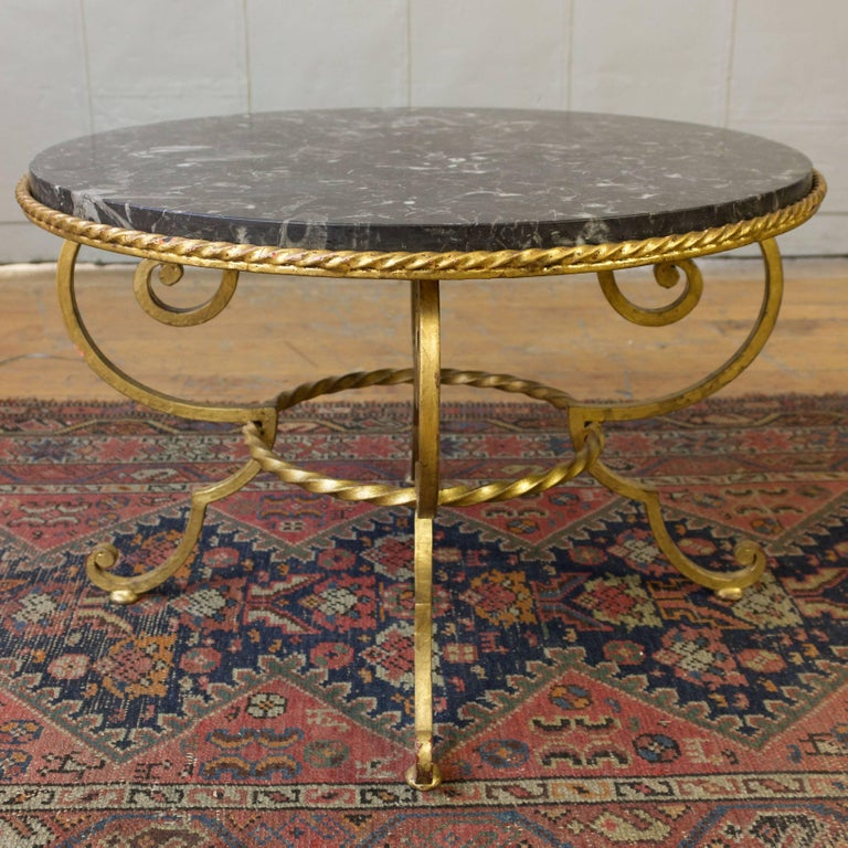 Gilt Metal Coffee Table with Grey Marble For Sale 2