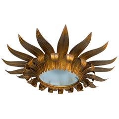Gilt Metal Double Tiered Sunburst Ceiling Fixture