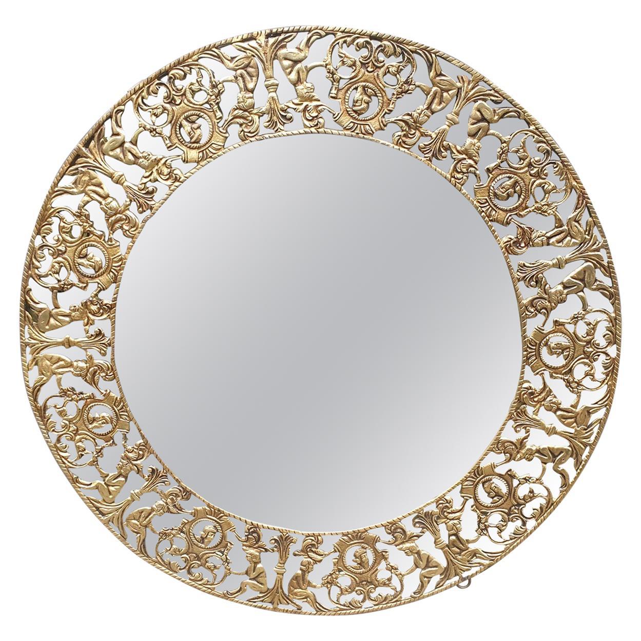 Gilt Metal Figural Sunburst Wall Mirror