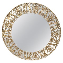 Gilt Metal Figural Sunburst Wall Mirror