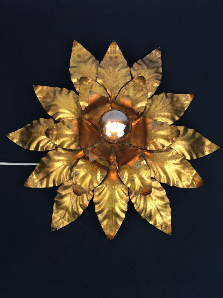 European Gilt Metal Floral Wall Light or Flush Mount, 1960s