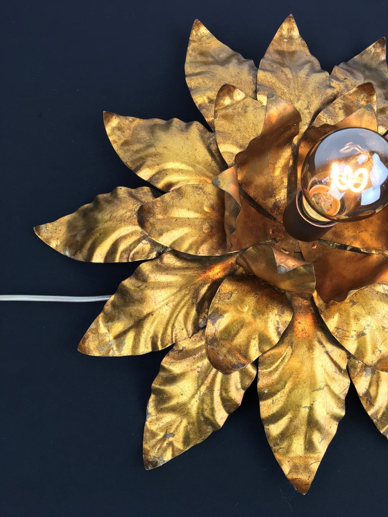Gilt Metal Floral Wall Light or Flush Mount, 1960s In Good Condition In Antwerp, BE