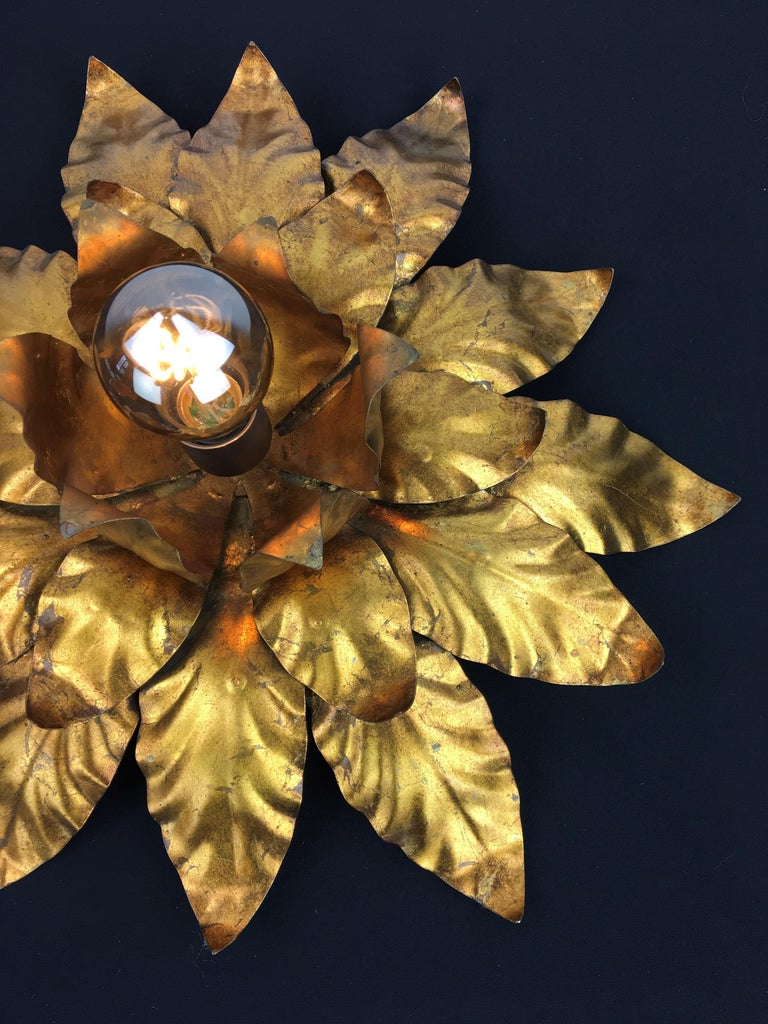 20th Century Gilt Metal Floral Wall Light or Flush Mount, 1960s