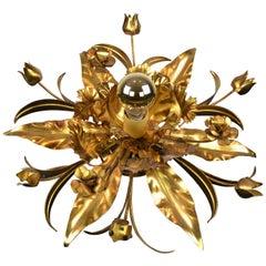 Gilt Metal Flower Flushmount or Floral Wall Light