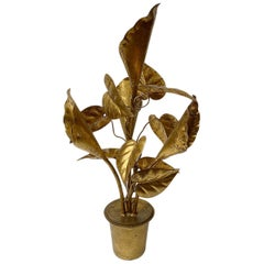 Gilt Metal Flowers Table Lamp