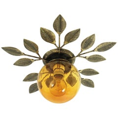 Gilt Metal Foliage Light Fixture with Amber Blown Glass Globe, 1960s