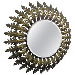 Gilt Metal French Round Eyelash Mirror