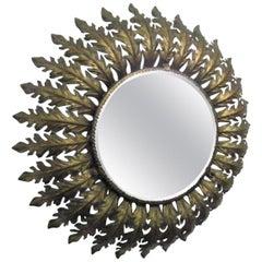 Gilt Metal French Round Eyelash Mirror