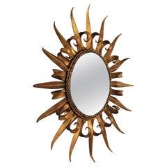 Gilt Metal French Sunburst Mirror Eyelash Design, 1950s