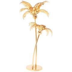 Gilt Metal Hollywood Regency Palm Tree Floor Lamp Maison Baguès Style