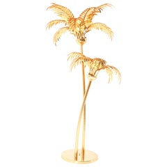Gilt Metal Hollywood Regency Palm Tree Floor Lamp Maison Baguès Style