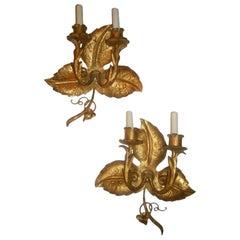 Gilt Metal Leaf-Shaped Sconces