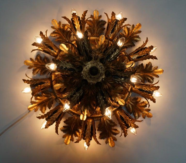 Italian Gilt Metal Leafed Sunburst Flush Mount Lamp, Italy, 1960s For Sale