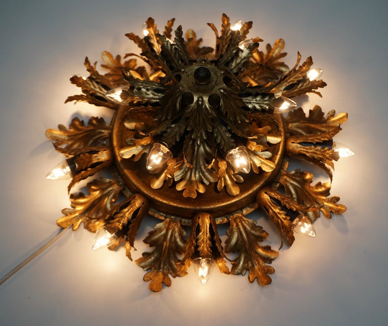Gilt Metal Leafed Sunburst Flush Mount Lamp, Italy, 1960s In Good Condition For Sale In Antwerp, BE