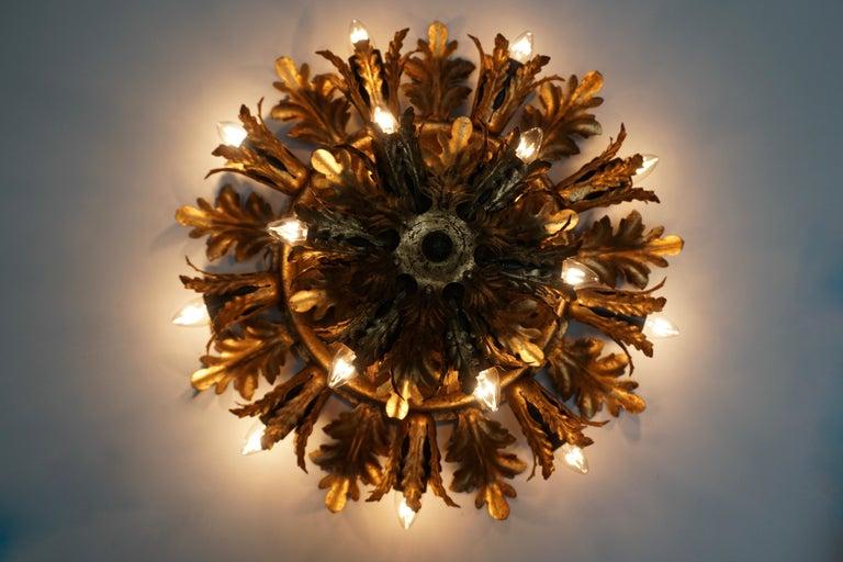 20th Century Gilt Metal Leafed Sunburst Flush Mount Lamp, Italy, 1960s For Sale
