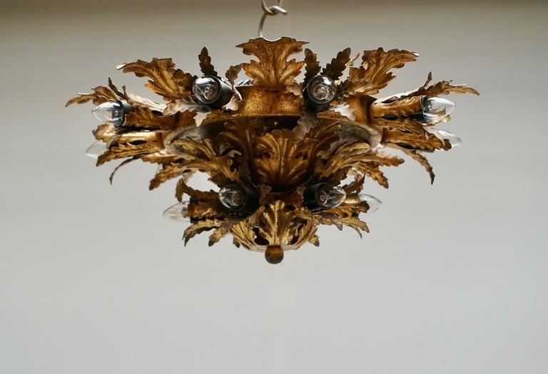 Brass Gilt Metal Leafed Sunburst Flush Mount Lamp, Italy, 1960s For Sale