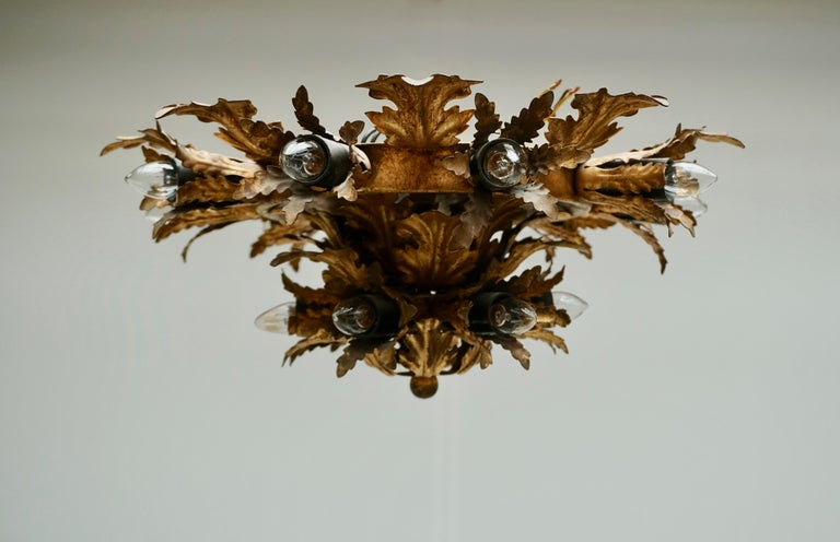 Gilt Metal Leafed Sunburst Flush Mount Lamp, Italy, 1960s For Sale 1