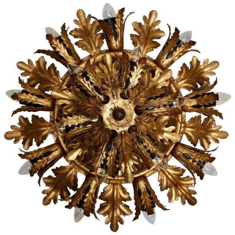 Gilt Metal Leafed Sunburst Flush Mount Lamp, Italy, 1960s For Sale
