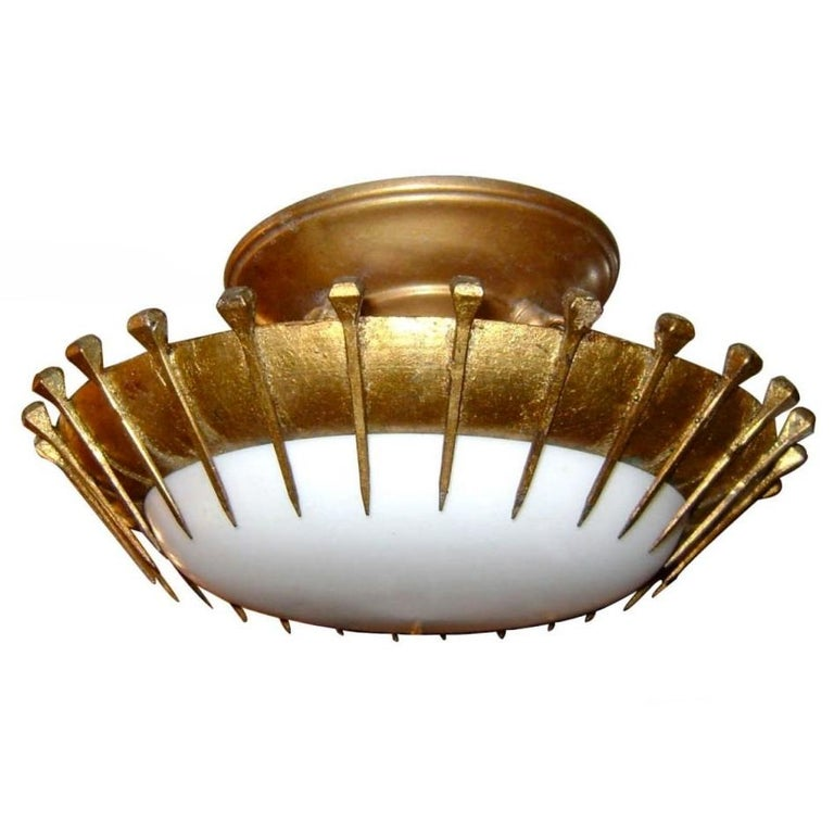 Gilt Metal Light Fixture with Milk Glass For Sale