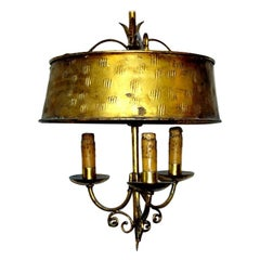 Gilt Metal Light Fixture with Shade