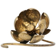 Gilt Metal Lotus Flower Sculpture by Mingazzi, Italy, 1950