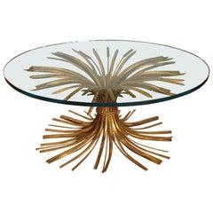 Gilt Metal Mid Century Wheat Motif Coffee Table