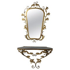 Gilt Metal Mirror with Wall Mount Console Table, Italy