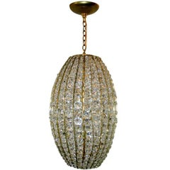 Gilt Metal Moderne Crystal Lantern
