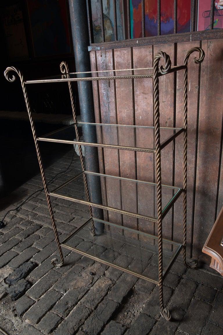 Gilt Metal Rope Style Étagère/Shelves For Sale 7