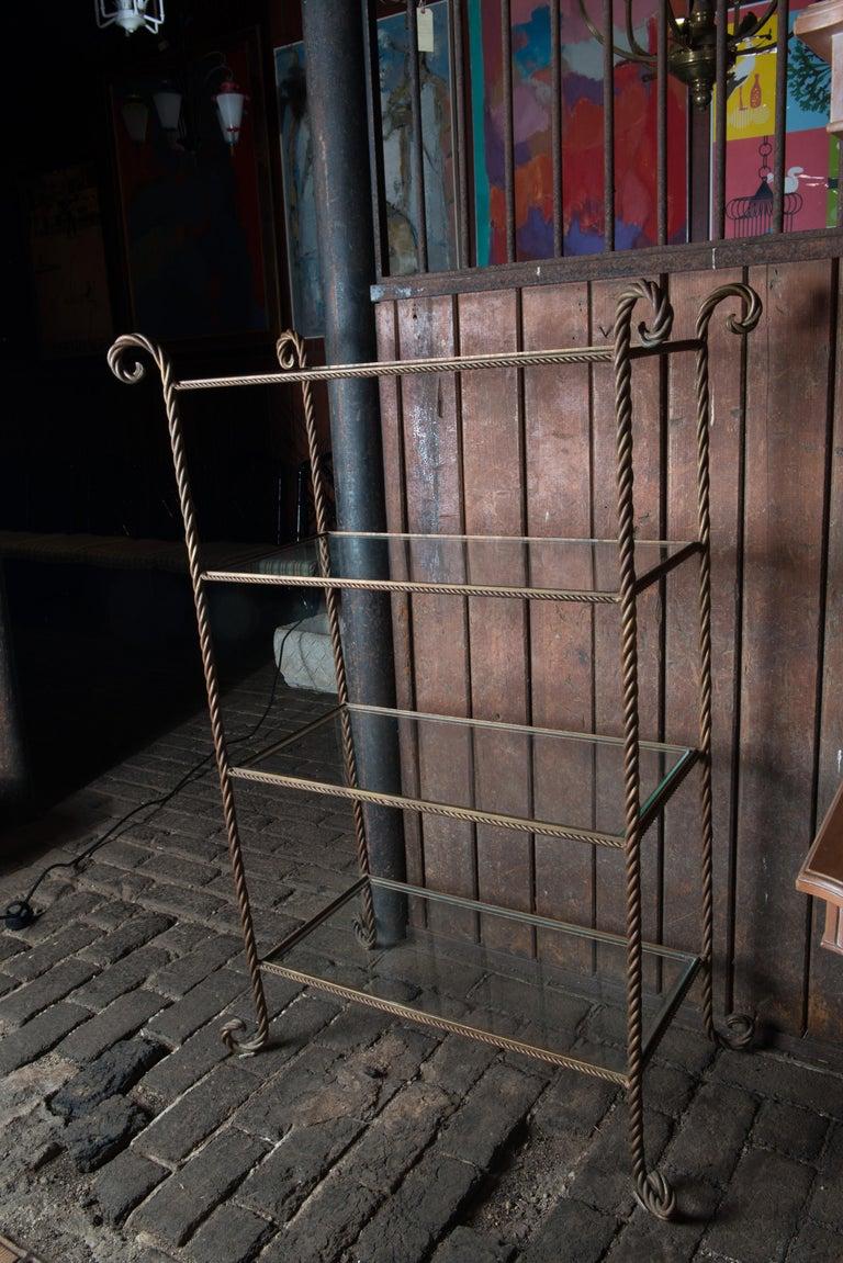 Gilt Metal Rope Style Étagère/Shelves For Sale 8