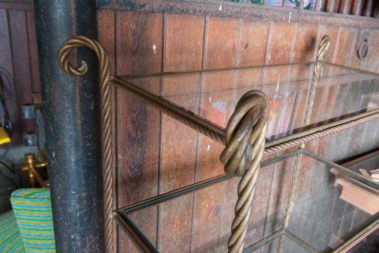 Mid-20th Century Gilt Metal Rope Style Étagère/Shelves For Sale