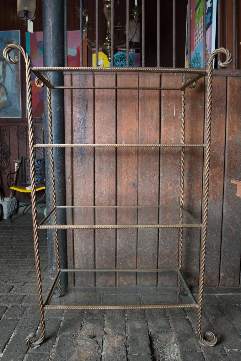 Brass Gilt Metal Rope Style Étagère/Shelves For Sale