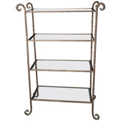 Gilt Metal Rope Style Étagère/Shelves
