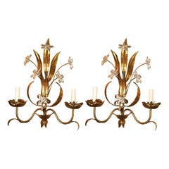 Gilt Metal Sconces with Crystal Flowers