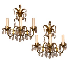 Gilt Metal Sconces with Crystals