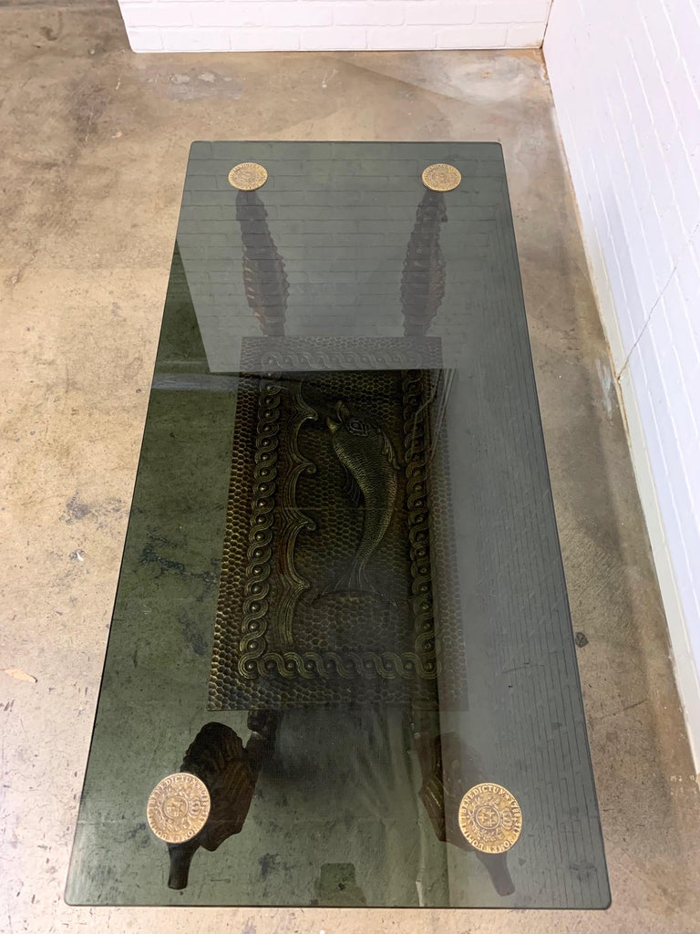 French Gilt Metal Seahorse Coffee Table with Smoked Glass For Sale