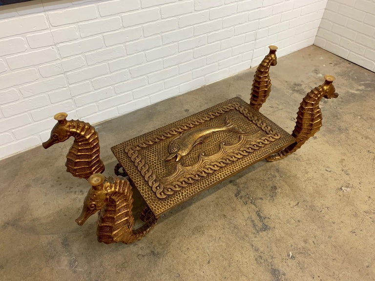 Cast Gilt Metal Seahorse Coffee Table with Smoked Glass For Sale