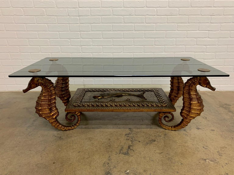 Gilt Metal Seahorse Coffee Table with Smoked Glass For Sale 1