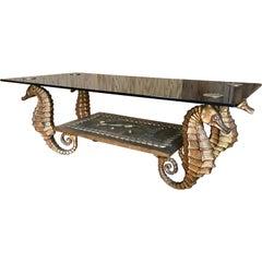 Gilt Metal Seahorse Coffee Table with Smoked Glass
