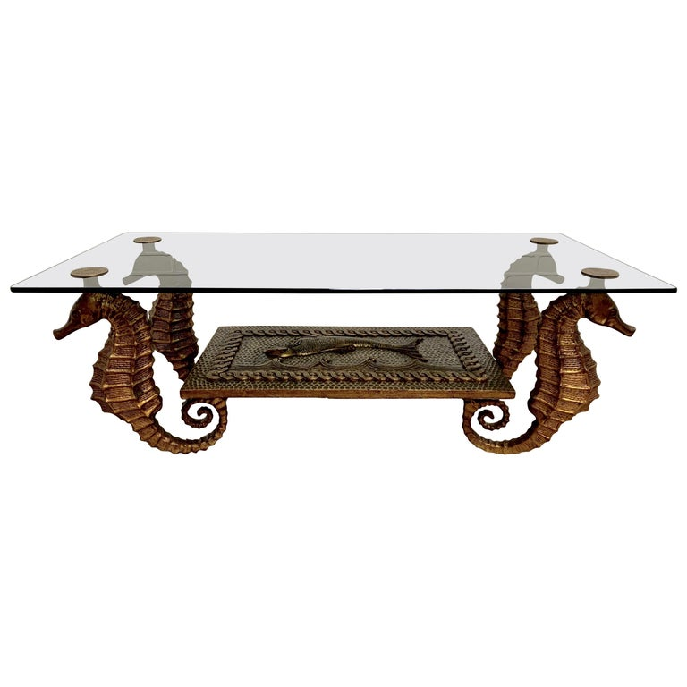 Gilt Metal Seahorse Coffee Table with Smoked Glass For Sale