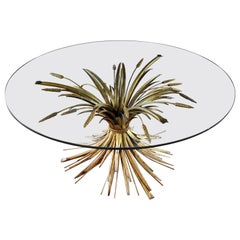 Gilt Metal Sheaf of Wheat Coffee Table with Glass Top Italian Hollywood Regency