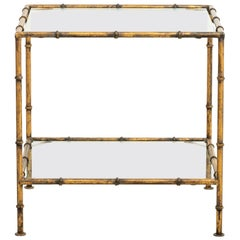 Gilt Metal Side Table with Glass Top